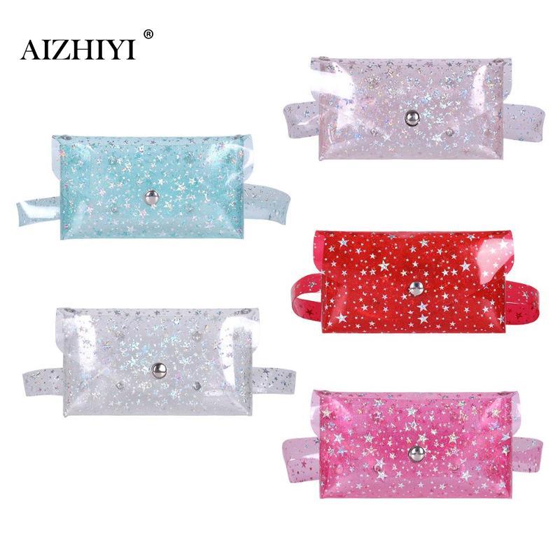 Small PVC Belt Bag Transparent Fanny Pack Women New Fashion Super Mini Clear Waist Bag Transparent Star Messenger Phone Pouch