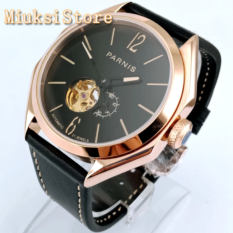 Parnis 43mm Rose Gold Case Black Dial Sapphire Glass 21 Jewels Miyota Movement Leather Strap Men's Top Luxury Automatic Watch