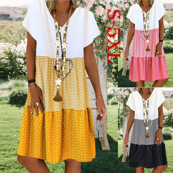 Fashion Striped Dot Printed Dress Plus Size Summer Holiday Casual Loose Simple Sleeveless Womens Clothing S-5XL