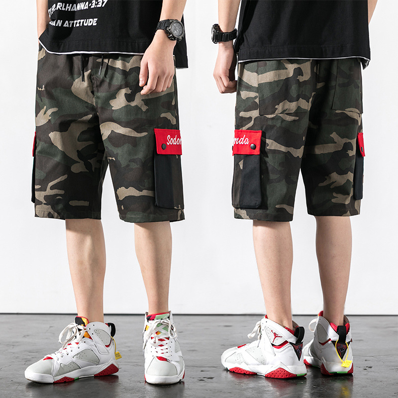 Hot Selling Japanese-style Loose-Fit Camouflage Large Pocket Plus-sized Large Size Shorts Workwear Shorts Men's