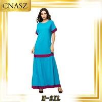 Muslim Dress Islamic Clothing Femme Robe Round Collar Contrast Panel With Autumn Dress Abaya Turkey Mopping Skirt