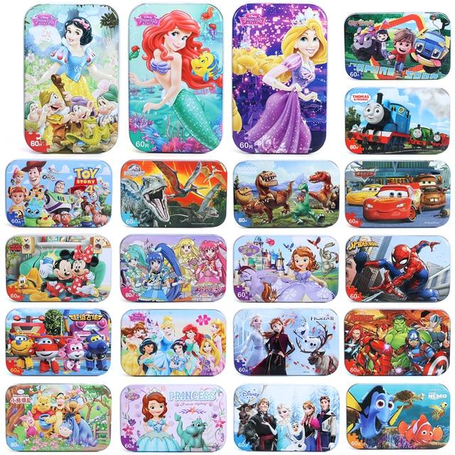 Disney 60 Piece Princess Frozen Wooden Box Puzzle Early Education Children Bottom Box Puzzle Birthday Toys Intelligence Puzzle 2
