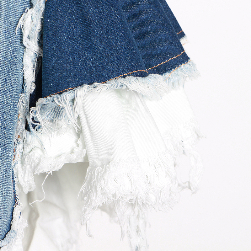 TWOTWINSTYLE Sexy Patchwork Denim Women Tops Square Collar Sleeveless Spaghetti Strap Tunic Mesh Ruffles Hit Color Vests Female
