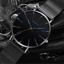 Minimalist Men's Fashion Ultra Thin Watches Stainless Steel Mesh Belt Quartz Watch