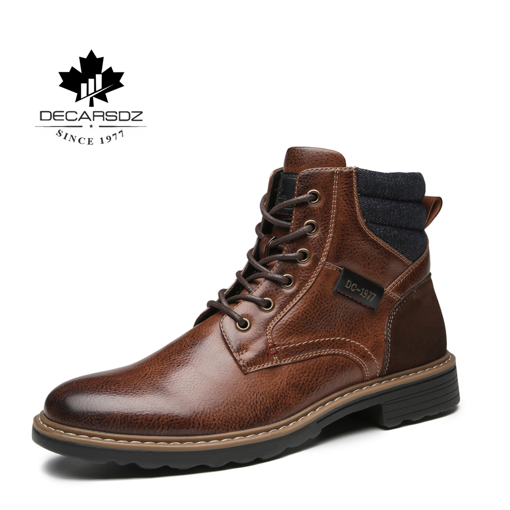 Men High Quality Leather Boots Male Autumn Casual Motorcycle Ankle Botas Hombre Men Lace-Up Basic Boots Man Fashion Men's Boots