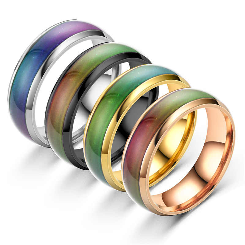 Anel inoxidável mudando un cor umorismo anéis sentimento/emoção temperatura anel inteligente jóias venda direta da fábrica