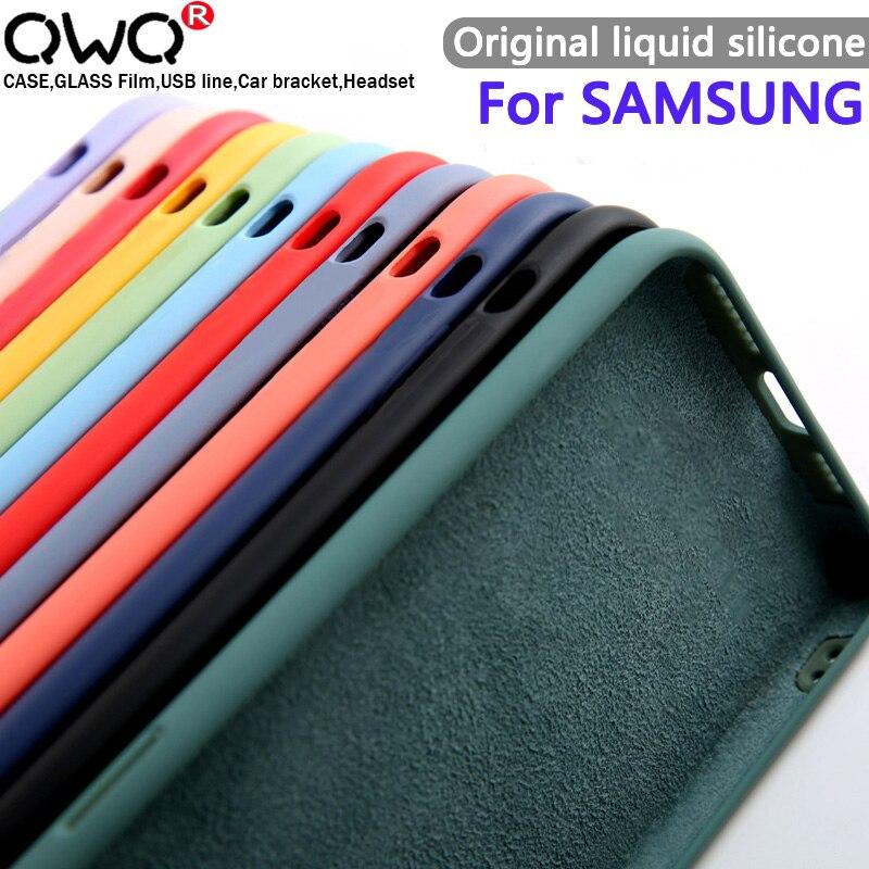 Líquido Original de silicona carcasa para Samsung Galaxy S8 S9 S10 Nota 8 9 10 s20 más A51 A50 A40 A71 A70 A10 A20 A30 A40 A50S A30S funda del teléfono caso de la contraportada fundas