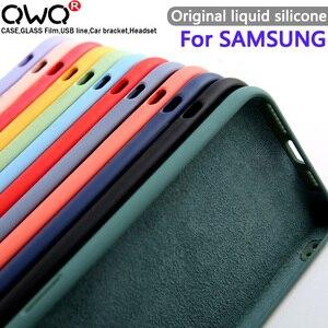 Original Liquid Silicone Cases For Samsung Galaxy S8 S9 S10 Note 8 9 10 s20 Plus A51 A50 A40 A71 A70 A10 Phone Case Back Cover