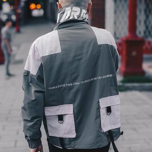 Image 5 - היפ הופ מעיל מעיל רוח גברים יפן Harajuku רב כיסי מעיל מעיל רטרו בציר מזדמן מסלול מעיל Streetwear 2019 סתיו