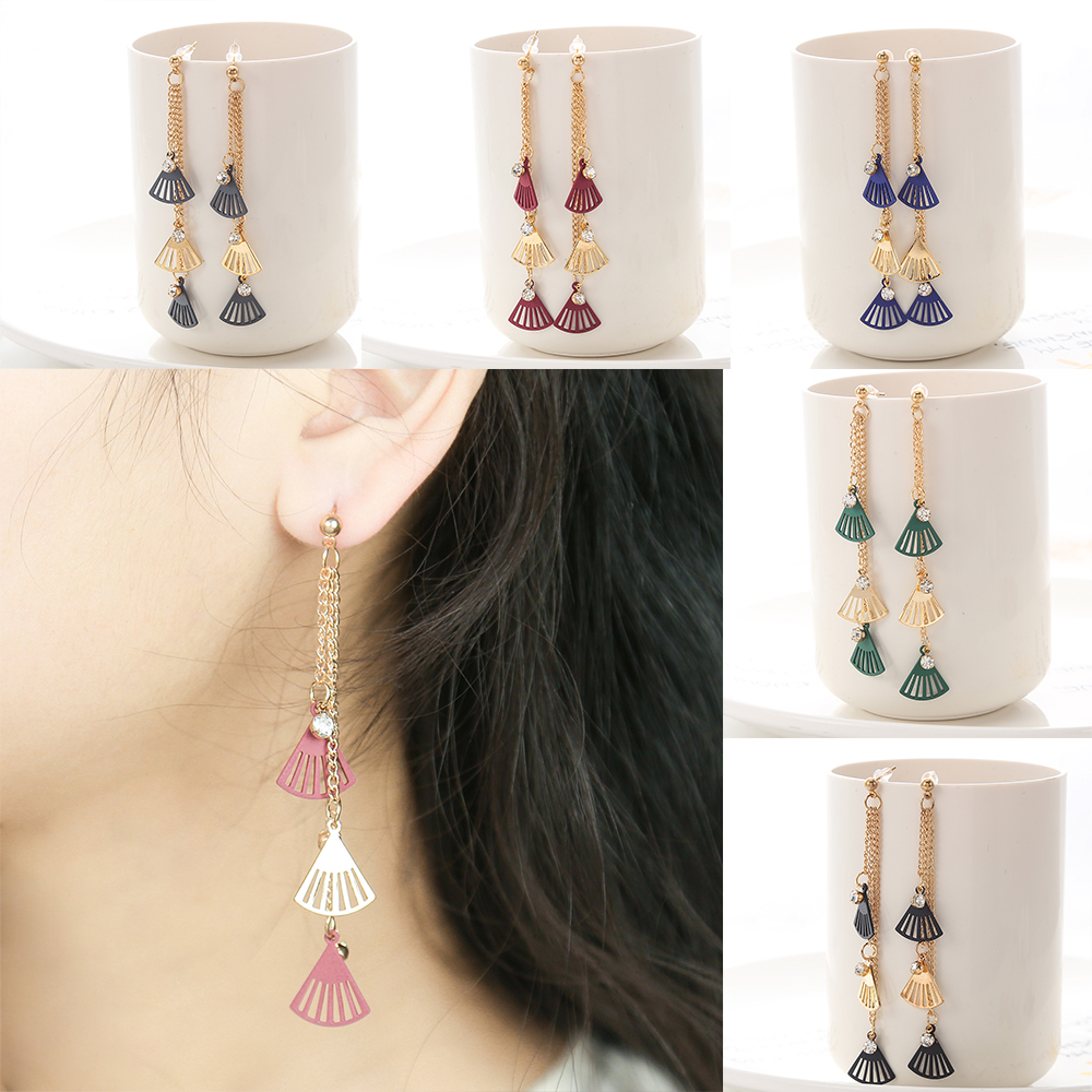 Color Folding Fan Drop Earring For Women Gold Plated Long Chain With Rhinestone Earring For Girl Painted Pendant Hangle Earring