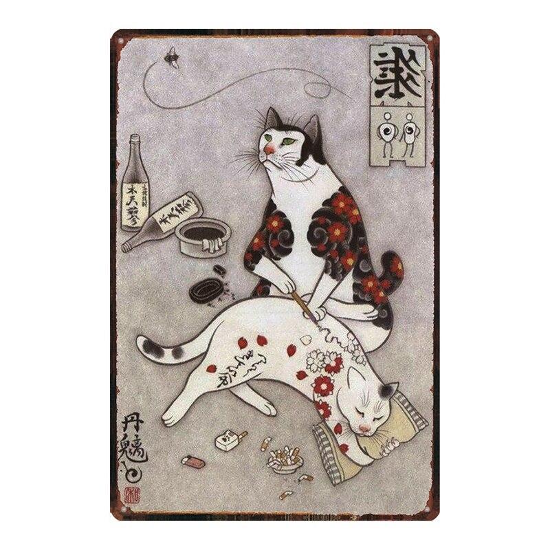 Japanese Samurai Cat Tattoo Cat Tin Sign Pet Plaque Metal Vintage Wall Art Bar Home Shabby Chic Decor 30X20CM DU-2379