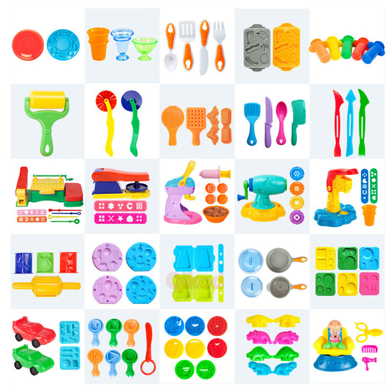 Kids DIY Slime Color Play Dough Model Animal Cake Fruit Tools Plasticine Set Clay Moulds Sets Educational Toys for children Gift(China)
