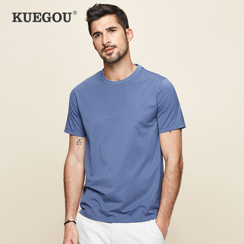 KUEGOU 2020 Summer Cotton Plain White T Shirt Men Tshirt Brand T-shirt Short Sleeve Tee Fashion Clothes Top Plus Size 5939 - discount item  68% OFF Tops & Tees