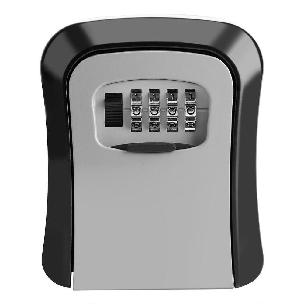 Key Lock Box Wall Mounted Aluminum Alloy Key Safe Box Weatherproof 4 Digit Combination Outdoor Key Security Storage Case