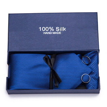 Men Handkerchief Cuffink Ties set 7.5cm Necktie 100% Silk Jacquard Woven Neck Tie Wedding Party Gift Box Packing Men Necktie new brand men ties causal jacquard woven ties for men high grade gift box sets necktie handkerchief cufflink business tie set