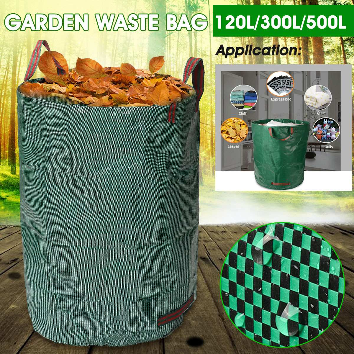 120L/300L/500L Large Capacity Heavy Duty Garden Waste Bag Durable Reusable Waterproof PP Yard Leaf Weeds Grass Container Storage