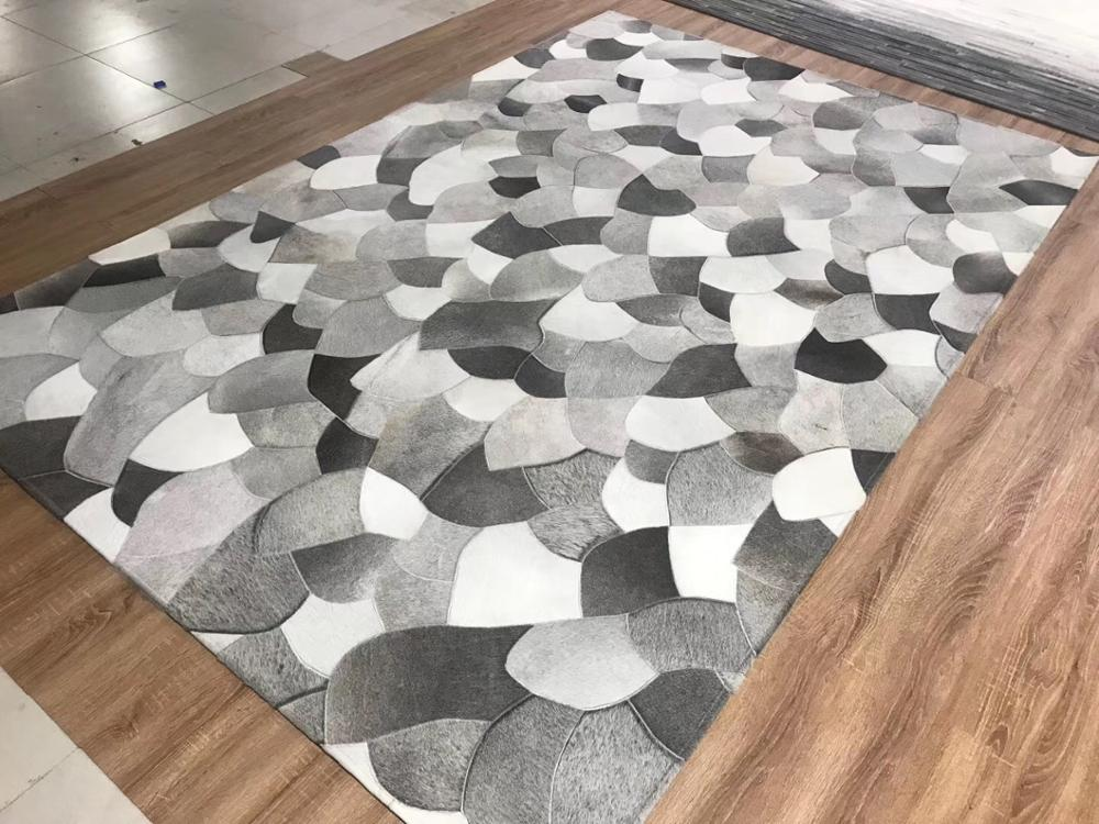 Fanshaped Grey Cowhide Real Cow Fur Rug Curved Modern Gray Design Carpets RF-GA1