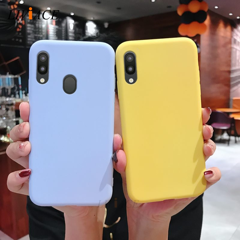 solid candy color silicone case on for <font><b>samsung</b></font> galaxy m10 M20 A10 A30 <font><b>A50</b></font> A40 A70 M30 A40S A20 a80 a7 2018 a20e <font><b>phone</b></font> back cover image