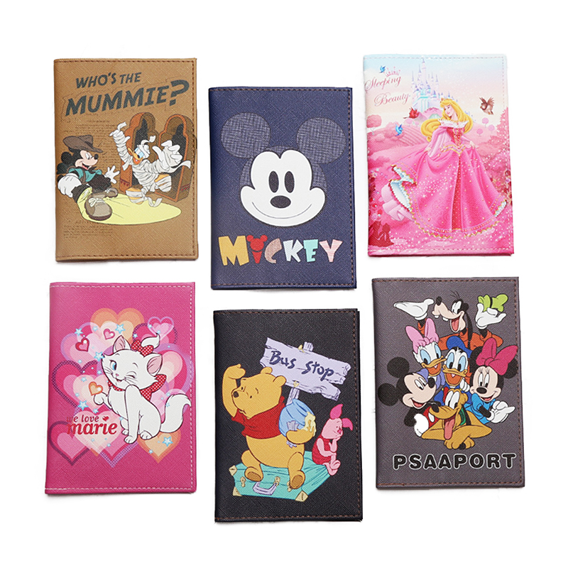 New Cute Cartoon Mi Mouse Passport Covers Women Men Waterproof Travel Passport Holder PU Leather Wallet ID Credit Card Holder