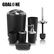 6Pcs Bathroom Accessories Set Toothbrush Holder Cup Soap Dispenser Dish Toilet Brush Trash Can for Washroom