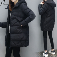 PEONFLY 2019 Jacket Women Winter Fashion Warm Thick Solid Color Coat Mid Length Hooded Padded Parkas Coat Femme Plus Size