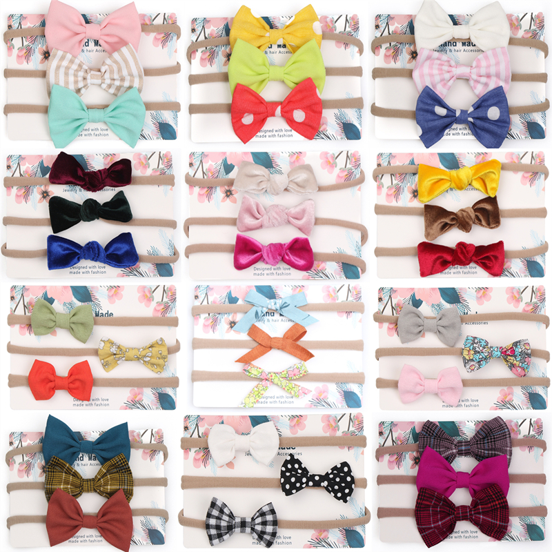 Baby Girls Headband Multi Colors Newborn Bows Head Bandage Kids Toddlers Headwear Hair Band Infant Clothing Accessories 3pcs Set