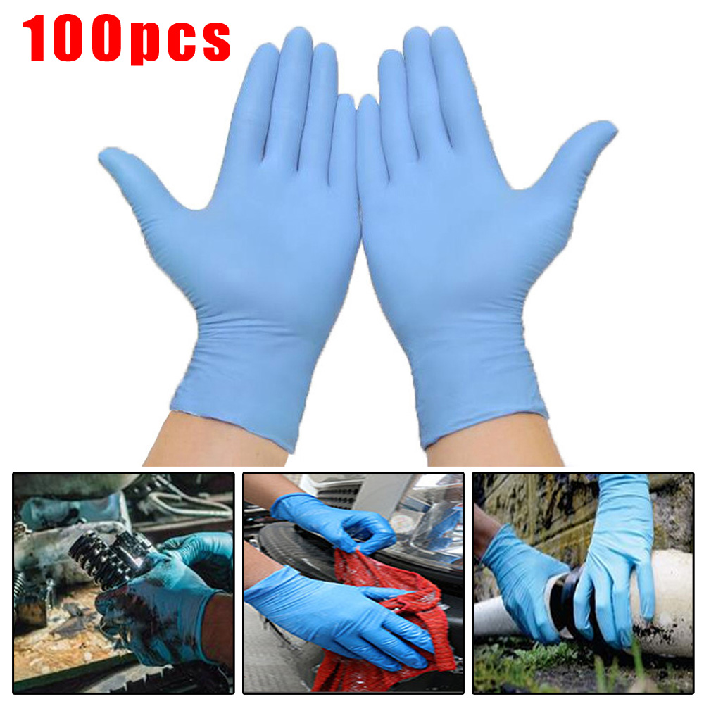 100Pcs M/L Nitrile Disposable Mechanic Gloves Waterproof Non-Slip Comfortable For Left And Right Hand Dishwashing Non-Slip