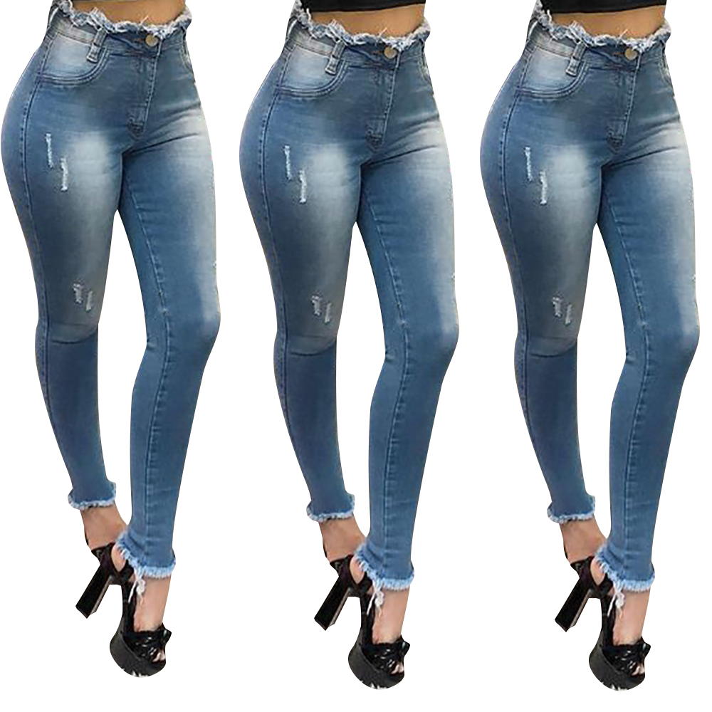 Women Spring Summer Sexy High Waist Skinny Jeans Ladies Casual Denim Blue Trousers Female Ripped Denim Pencil Pants D30|Pants & Capris| - AliExpress