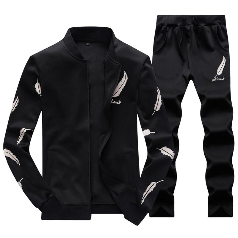 Men Fashion Sets 2PC Autumn Two Pieces Casual Tracksuits Male Zipper Sweatshirt+Sweatpants Suits Men Plus Size 2PC Sportswears 1
