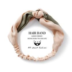 Korean version two-color spliced wide-edge cross headband retro satin middle knot headband headband