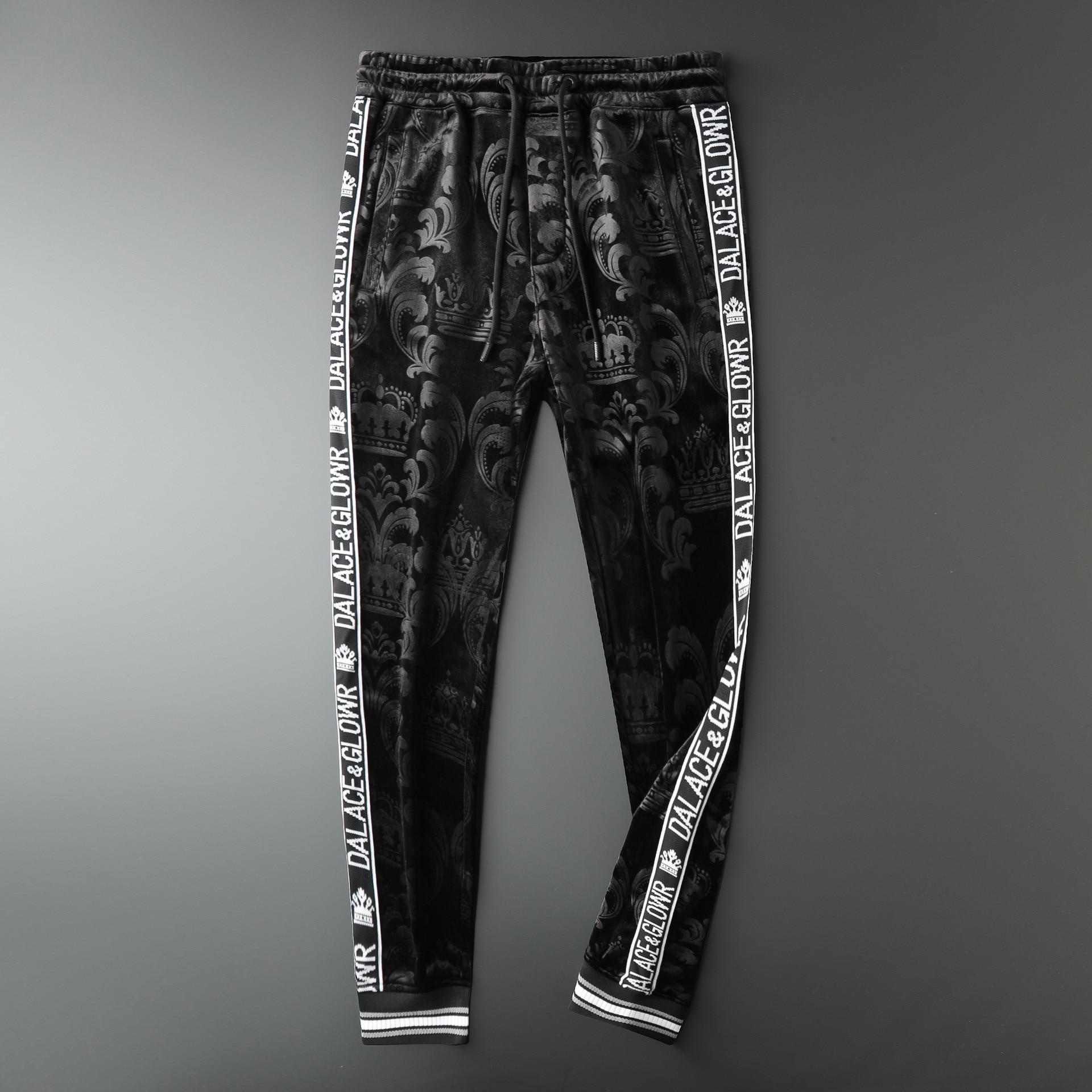 2019 Winter Mens Jogger Pants Crown Printed New Brand Drawstring Sports Pants Black High Fashion Designer Joggers Pantalon Homme