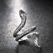 Anel de cobra em forma retro punk exagerado espírito anel aberto temperamento ajustável anel jóias antigo siver cor