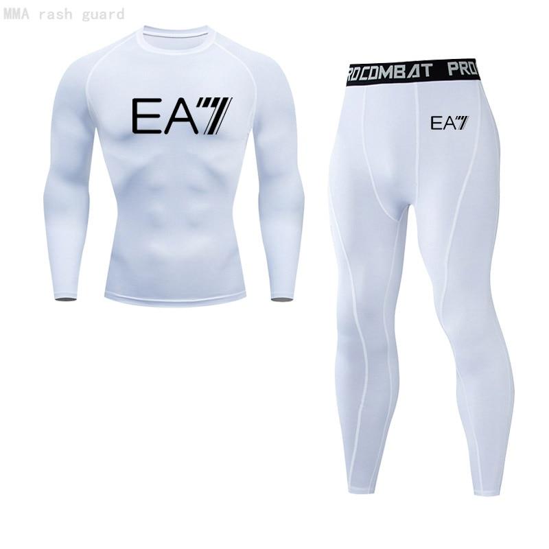 Men s Fitness Set Jogging suit Compression MMA rash guard Male Warm TracksuitT shirt Pants 2