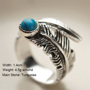 Image 2 - Real 925 Sterling Silver Rings For Men And Women Vintage Feather Ring With Natural Stone Jewelry Adjustable Opening Type