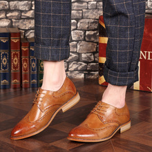 Large Size 37-46 Business Men's Shoes Spring and Autumn New Bullock Carved England Wind Pointed Casual Shoes Men стоимость