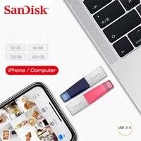 100% SanDisk iXPAND USB فلاش حملة آيفون باد والكمبيوتر يو القرص 128GB 64GB بندريف 32GB 16GB الأصلي USB3.0 حملة القلم