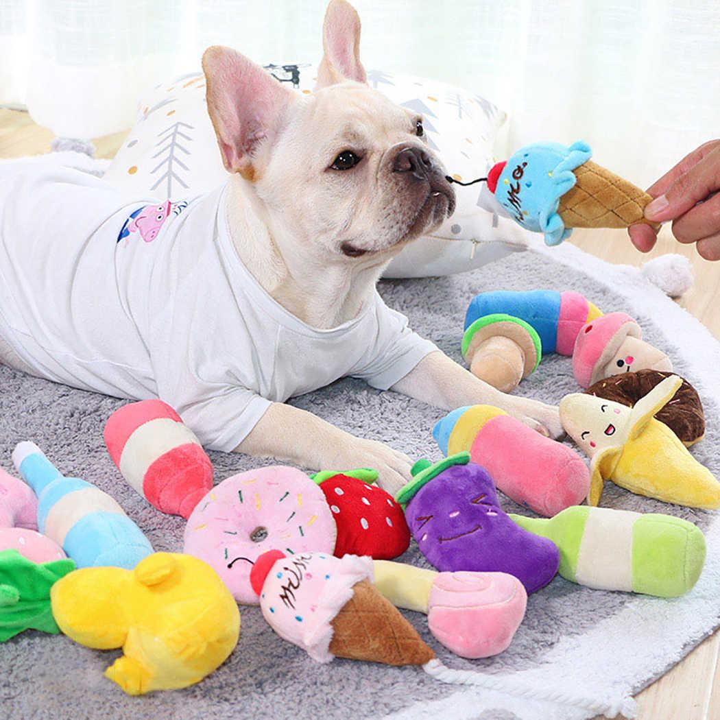 1 PC Mewah Berderit Tulang Anjing Mainan Gigitan Tahan Bersih Anjing Mengunyah Pelatihan Anjing Mainan Lembut Pisang Wortel dan sayuran Persediaan Hewan Peliharaan