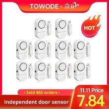 Towode sistema de alarma de seguridad antirrobo para puerta para ventana de casa, Sensor magnético para sistema de seguridad del hogar, 90dB, 5/10 Uds.