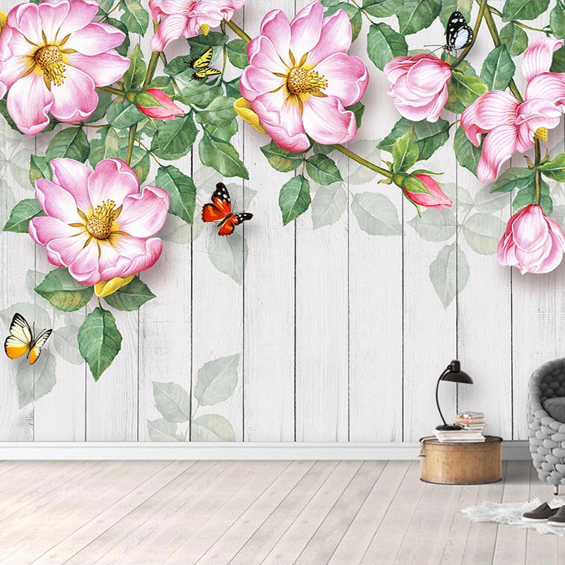 Custom Retro Nostalgic Butterfly Flower Photo Wall Painting Home Improvement Mural Wallpaper Living Room Sofa TV Background Wall