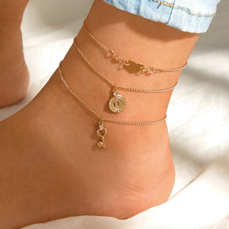 New Fashion Jewelry Anklet Personality Love Heart Key Multi-layer Anklet Beach Pulseras Anklets For Women Tobillera Ladies