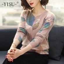 YISU suéter de las mujeres 2019 Otoño Invierno moda nueva hoja impresa suéter de manga larga suelta pulóver suéter tejido de las mujeres