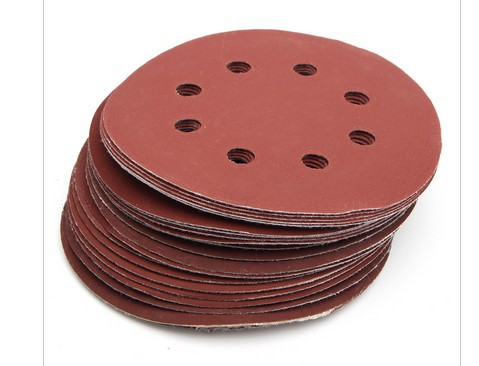 125MM8 Hole Flocking Sandpaper Pieces Self-Sandpaper Sticky Film