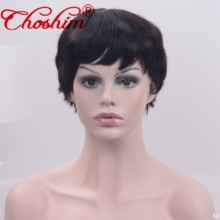 Straight Brazilian Remy Short Cut Full Machine Made Human Hair Wigs 150 Density Pixie Cut By Machine Made Wig For Black Women cheap choshim Remy Hair Brazilian Hair Average Size Medium Brown Darker Color Only Elastic lace