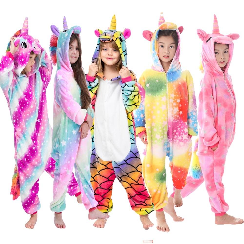 Image 2 - Kigurumi Pajamas Panda Children Girls Unicorn Pajama Boys Stitch Oneises Pijamas Unicornio for 4 6 8 10 12Years Stitch CostumeBlanket Sleepers   -