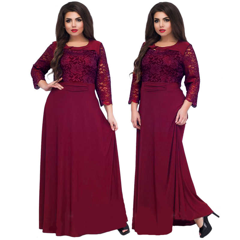Wipalo 5XL 6XL 2019 новое женское длинное платье макси осень зима большой размер s кружевное лоскутное платье размера плюс сексуальные черные вечерние платья