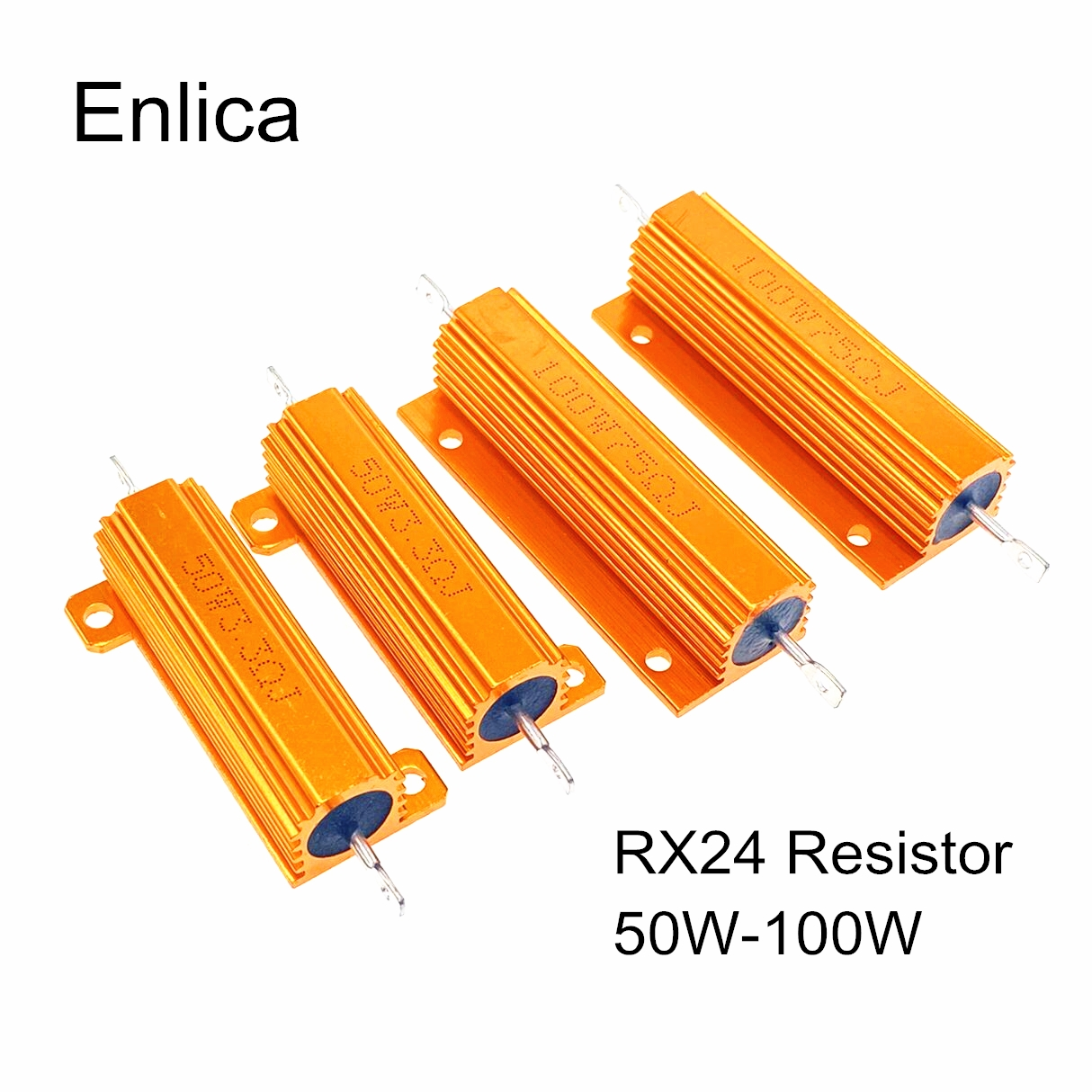 RX24 50W 100W Alumínio Shell Power Metal Caso Wirewound Resistor 0.01 ~ 100K 0.05 0.1 0.5 1 2 4 6 8 10 20 100 150 200 300 ohm 50