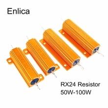 RX24 50W 100W Aluminum Power Metal Shell Case Wirewound Resistor 0.01 ~ 100K 0.05 0.1 0.5 1 2 4 6 8 10 20 100 150 200 300 50 ohm