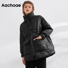 Aachoae 순수 겨울 경량 다운 자켓 여성 두꺼운 따뜻한 배트 윙 긴 소매 느슨한 Doudoune 포켓 울트라 라이트 덕 다운