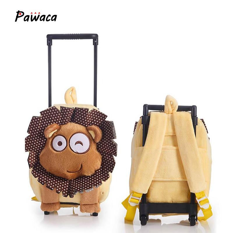 Children's Plush Cartoon Backpack Detachable Trolley Rolling Wheels Preschool Girls School Bags Children Cartoon Toddler Bags