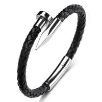 De moda de cuero trenzado, pulsera de uñas para hombres y mujeres Simple joyas de ocio de acero inoxidable hebilla mano brazaletes regalo P604